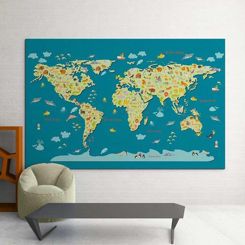 e1679909c0a Παιδικός Πίνακας Ζωγραφικής World Map With Animals - Decotek 16031 ...