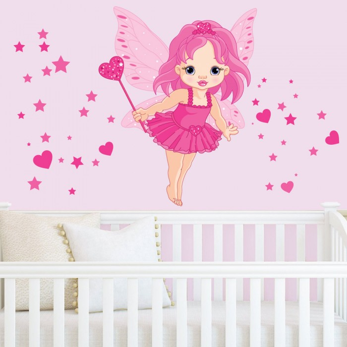 Παιδικό Αυτοκόλλητο Ροζ Νεράιδα - Decotek 11056