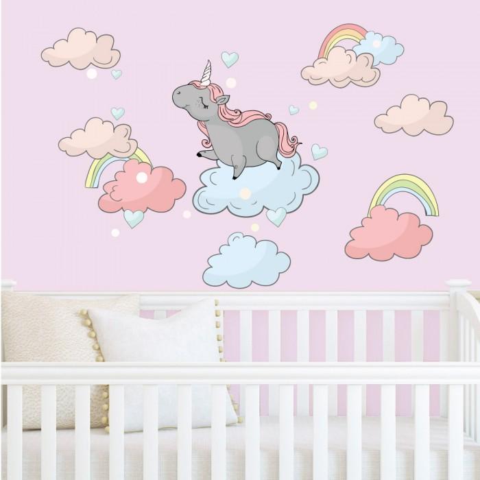 Παιδικό Αυτοκόλλητο Μονόκερος στα Σύννεφα - Decotek 11058