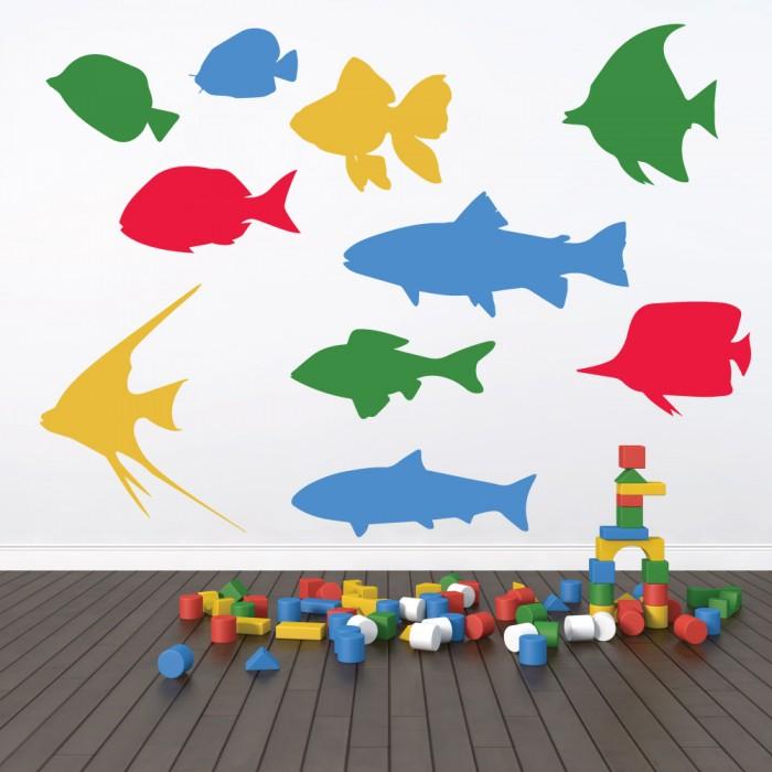 Παιδικό Αυτοκόλλητο Πολύχρωμα Ψάρια - Decotek 11059