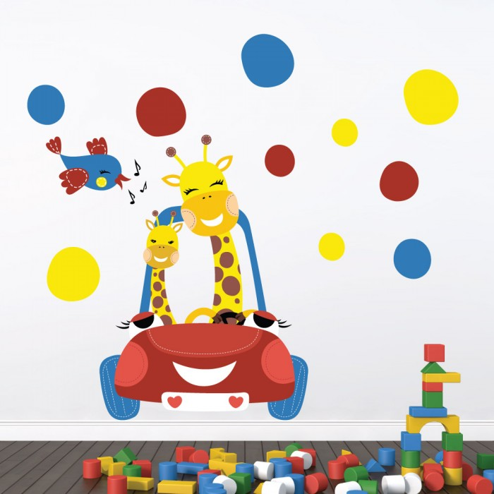 Παιδικό Αυτοκόλλητο Καμηλοπάρδαλη στο Αυτοκίνητο - Decotek 11062