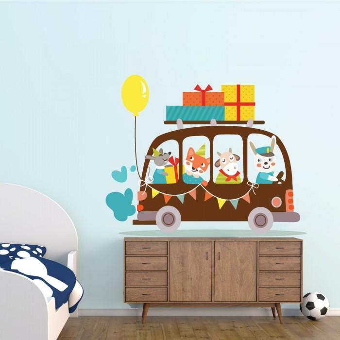 Παιδικό Αυτοκόλλητο Αυτοκίνητο με Ζωάκια - Decotek 11143