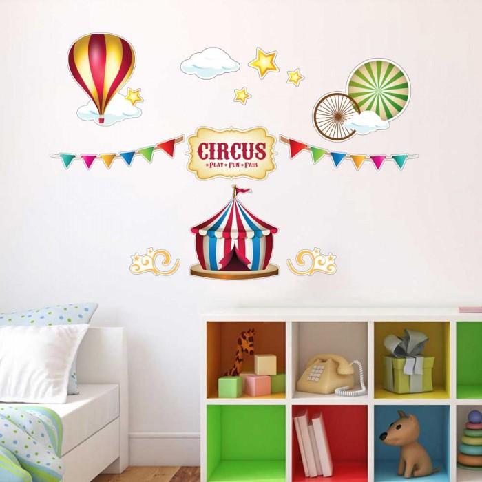 Παιδικό Αυτοκόλλητο Τσίρκο και Αερόστατο - Decotek 11158