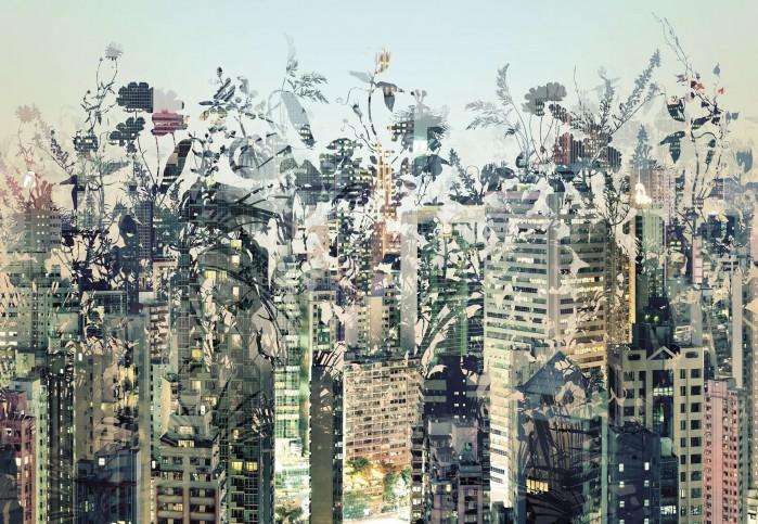 Φωτοταπετσαρία Τοίχου Πόλη με λουλούδια - Komar - Decotek 8-979