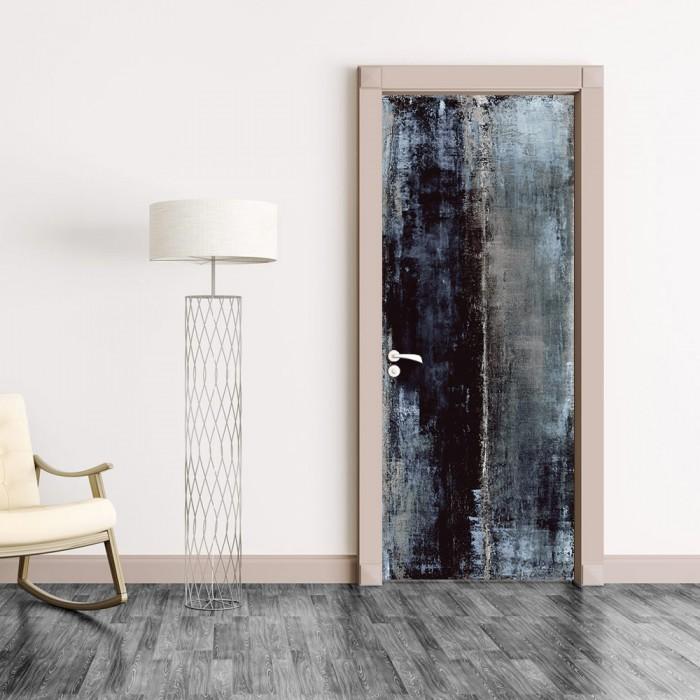 Αυτοκόλλητο Πόρτας Blue and Black Abstract - Decotek 20198