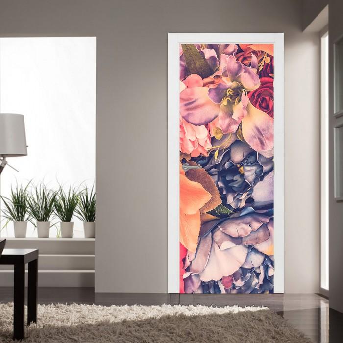 Αυτοκόλλητο Πόρτας Flowers in Pastel Colours - Decotek 20216