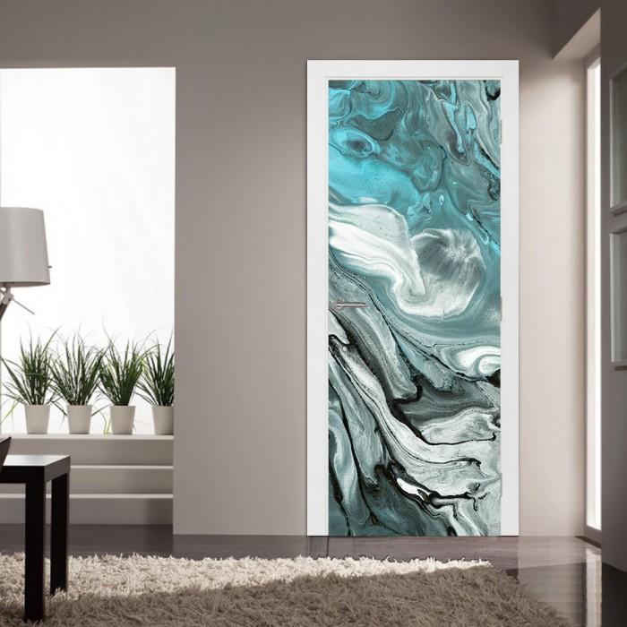 Αυτοκόλλητο Πόρτας Grey and Turquoise Marble - Decotek 20221