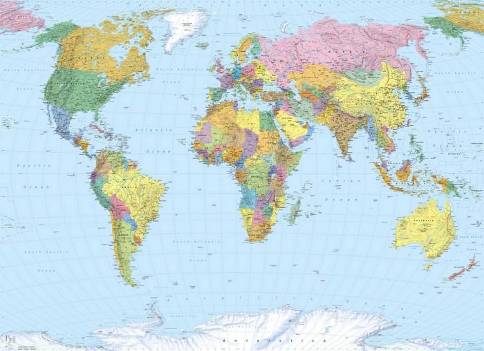 Φωτοταπετσαρία Τοίχου Παγκόσμιος Χάρτης - Komar - Decotek 4-050