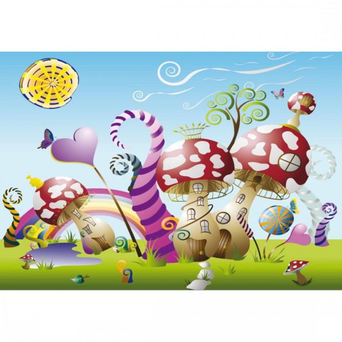 Παιδική Φωτοταπετσαρία Τοίχου Σπιτάκια Μανιτάρια - A&G Design Group - Decotek FT 0097