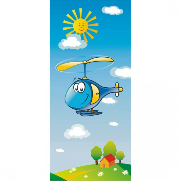 Παιδική Φωτοταπετσαρία Τοίχου Χαρούμενο Ελικόπτερο - A&G Design Group - Decotek FTV 0038