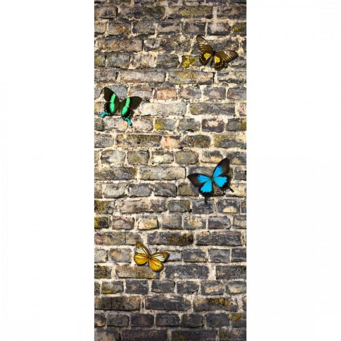 Φωτοταπετσαρία Πόρτας & Τοίχου Τούβλα και πεταλούδες - A&G Design Group - Decotek FTV 1519