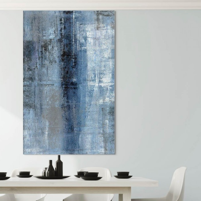 Πίνακας Ζωγραφικής Blue And Grey Abstract Art Painting – Decotek 180573