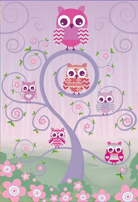 Παιδική Φωτοταπετσαρία Τοίχου Κουκουβάγιες - 1 Wall - Decotek W2PL-OWLS-001