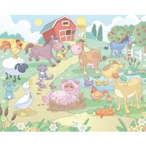 Παιδική Φωτοταπετσαρία Τοίχου Φάρμα Ζώων - Walltastic - Decotek 40601