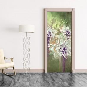 Αυτοκόλλητο Πόρτας Abstract Grunge Flowers- Decotek 20177