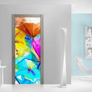 Αυτοκόλλητο Πόρτας Abstract Spiring Flowers - Decotek 20179