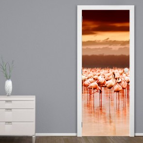 Αυτοκόλλητο Πόρτας African Flamingos on Sunset - Decotek 20184