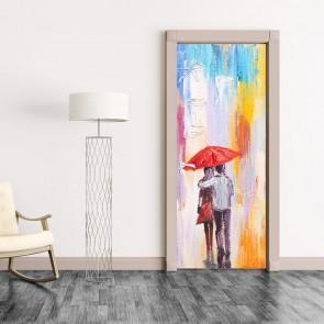 Αυτοκόλλητο Πόρτας Couple Walking in the Rain - Decotek 20206
