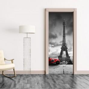 Αυτοκόλλητο Πόρτας Eiffel Tower and Retro Car - Decotek 20211