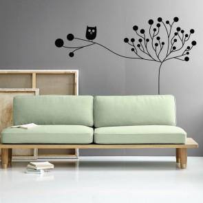 Αυτοκόλλητο Τοίχου Flower With Owl - Decotek 09520