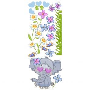Παιδικό Αυτοκόλλητο Ελεφαντάκι μέσα στα Λουλουδάκια - Decotek 18941
