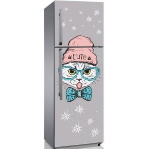 Αυτοκόλλητο Ψυγείου Cute Hipster Cat - Decotek 19136