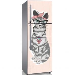 Αυτοκόλλητο Ψυγείου Fashion Hipster Cat - Decotek 19137