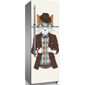 Αυτοκόλλητο Ψυγείου Fashion Hipster Cat- Decotek 19191