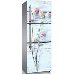 Αυτοκόλλητο Ψυγείου Flowers With Blue Wood Background - Decotek 19193