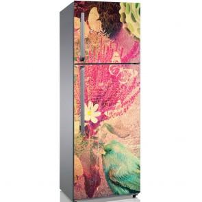 Αυτοκόλλητο Ψυγείου Grunge Birds and Flowers - Decotek 19199