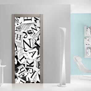 Αυτοκόλλητο Πόρτας Black and White Letters - Decotek 20108