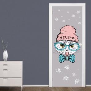 Αυτοκόλλητο Πόρτας Cute Hipster Cat - Decotek 20117