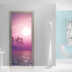 Αυτοκόλλητο Πόρτας Fantasy Palm Sunset - Decotek 20122