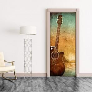 Αυτοκόλλητο Πόρτας Grunge Guitar - Decotek 20128