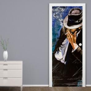 Αυτοκόλλητο Πόρτας Man Smoking In The Alley - Decotek 20139