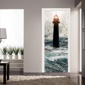 Αυτοκόλλητο Πόρτας Stormy Sky Over Lighthouse - Decotek 20162