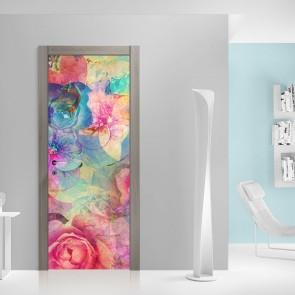 Αυτοκόλλητο Πόρτας Watercolour Flowers - Decotek 20168