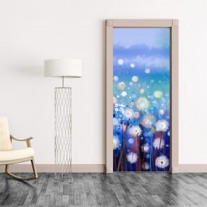 Αυτοκόλλητο Πόρτας White Flowers in Soft Field- Decotek 20171