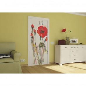 Φωτοταπετσαρία Πόρτας & Τοίχου Παπαρούνες - A&G Design Group - Decotek FTV 0030
