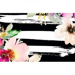 Πίνακας Ζωγραφικής Stripes and Flowers