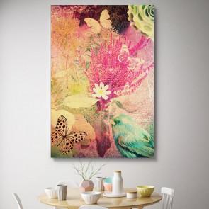 Πίνακας Ζωγραφικής Grunge Birds And Flowers – Decotek 180590