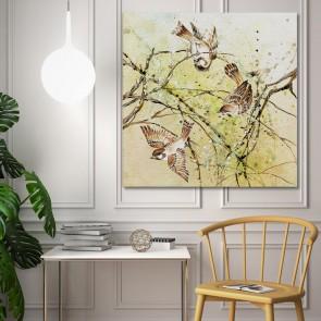 Πίνακας Ζωγραφικής Three Sparrows - Decotek 180641