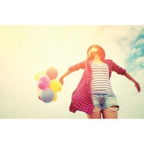 Πίνακας Ζωγραφικής Grunge Happy Girl With Balloons - Decotek 180704