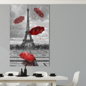Πίνακας Ζωγραφικής Eiffel Tower with Flying Umbrellas – Decotek 180879
