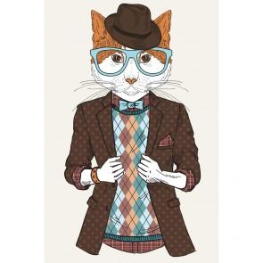 Πίνακας Ζωγραφικής Fashion Hipster Cat – Decotek 180884