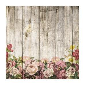 Πίνακας Ζωγραφικής Wooden Wall With Flowers - Decotek 181122