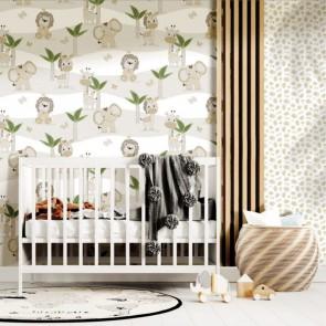 Παιδική Ταπετσαρία Τοίχου Φλοράλ με Άγρια Ζωάκια – Parato, Mondo Baby – Decotek 13048