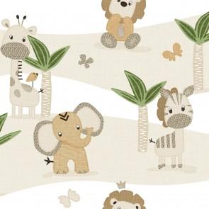 Παιδική Ταπετσαρία Τοίχου Φλοράλ με Άγρια Ζωάκια – Parato, Mondo Baby – Decotek 13049