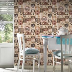 Ταπετσαρία Τοίχου Γράμματα, Καφές - AS Creation,Simply Decor - Decotek 334802