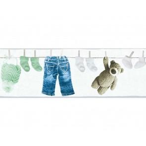 Παιδική Μπορντούρα Τοίχου Ρούχα και Αρκουδάκι  – AS Creation, Little Stars – Decotek 358462
